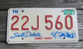 South Dakota Mount Rushmore License Plate 1991