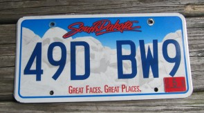 South Dakota Great Faces Great Places License Plate