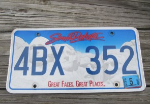 South Dakota Great Faces Great Places License Plate 2013