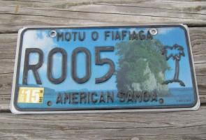 American Samoa Islands Territory License Plate 2012