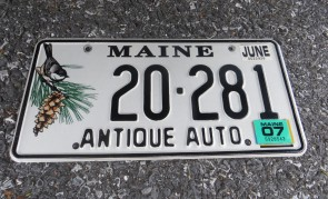 Maine Antique Auto License Plate 2007