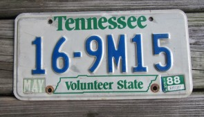 Tennessee Green Rolling Hills The Volunteer State License Plate 2013 TN Vacation Knox County