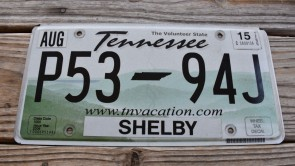 Tennessee Green Rolling Hills License Plate 2015