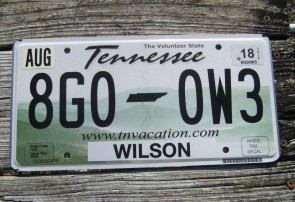 Tennessee Motorcycle License Plate 2010