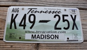 Tennessee Green Rolling Hills License Plate 2016