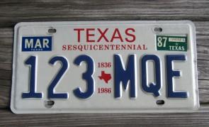 Texas License Plate 1836 - 1986 Sesquicentennial 1987