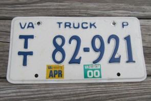 Virginia White Truck License Plate 2000