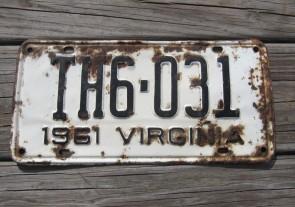 Virginia White Black License Plate 1961