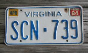 Virginia Blue Border License Plate 1984