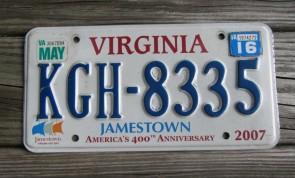 Virginia Jamestown 400th Anniversary License Plate 2016