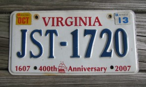 Virginia Jamestown 400th Anniversary License Plate 2013