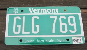 Vermont Green Mountain State License Plate 2016 GLG 769