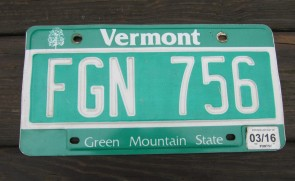 Vermont Green Mountain State License Plate 2016 FGN 756