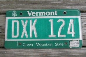 Vermont Green Mountain State License Plate 2010