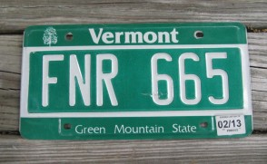 Vermont Green Mountain State License Plate 2013