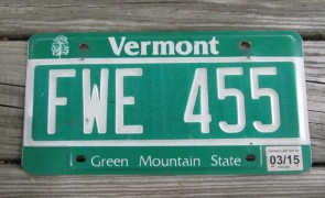 Vermont Green Mountain State License Plate 2015