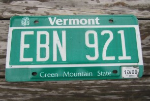 Vermont Green Mountain State License Plate 2009