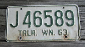 Washington Green White License Plate 1963