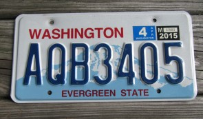 Washington Mt Rainier License Plate 2015