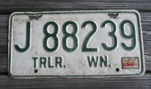 Washington Green White License Plate 1972