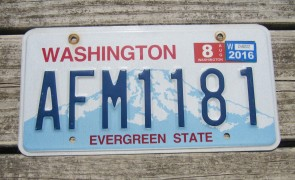 Washington Mt Rainier License Plate 2016