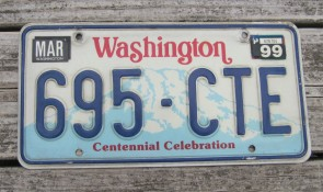 Washington Green White License Plate 1974