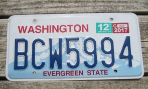 Washington Green White License Plate