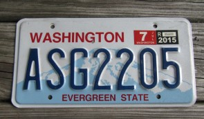 Washington Mt Rainier License Plate 2015