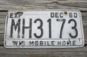 Wisconsin Mobile Home License Plate 1960 MH 3173