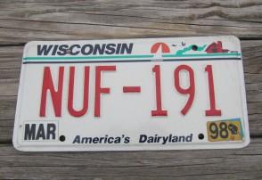 Wisconsin America's Dairyland License Plate 1998