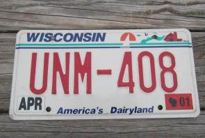 Wisconsin America's Dairyland License Plate 2001