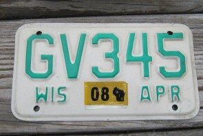 Wisconsin Motorcycle License Plate 2008