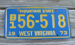 West Virginia Mountain State License Plate 1973 B1 56518