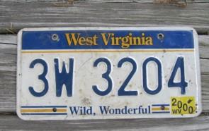 West Virginia Wild Wonderful License Plate 2000 3W 3204