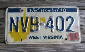 West Virginia Mountain State License Plate Yellow Map 1994