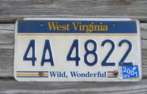 West Virginia Wild Wonderful License Plate 2001 4A 4822
