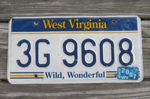 West Virginia Wild Wonderful License Plate 2007 3G 9608