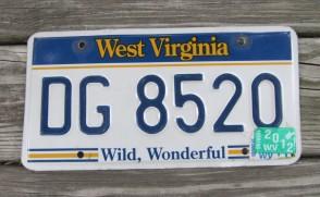 West Virginia Wild Wonderful License Plate 2012 DG 8520
