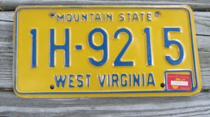 West Virginia Mountain State License Plate 1975 1H 9215