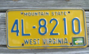 West Virginia Mountain State License Plate 1976 4L 8210