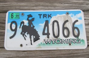 Wyoming Devils Tower Truck License Plate 2009