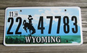 Wyoming Bucking Horse Truck License Plate 2016