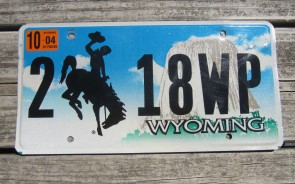 Wyoming Devils Tower Truck License Plate 2005 1370 X