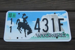 Wyoming Devils Tower License Plate 2003