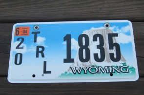 Wyoming Devils Tower Trailer License Plate 2004