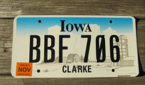 Iowa State Official State License Plate
