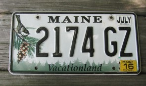 Maine State Official License Plate