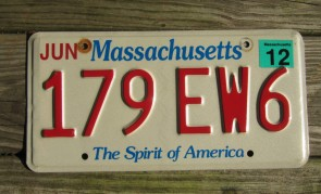 Massachusetts State Official License Plate