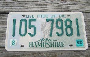 New Hampshire State Official License Plate