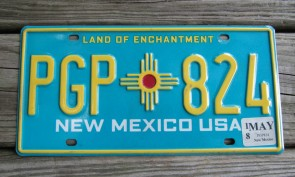 New Mexico State Official License Plate ONe of Two